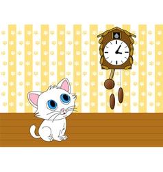 Kitten watching cuckoo clock vector image vector image