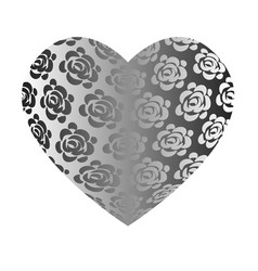 large volume grey heart with roses vector image vector image