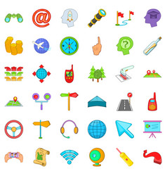 Line of movement icons set cartoon style vector