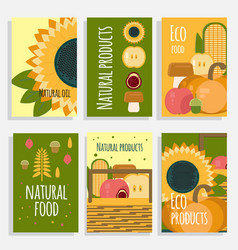 Natural food concept cards vector