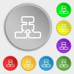 Network icon sign Symbol on eight flat buttons vector image