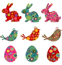 Patterned bunnies birds and eggs vector