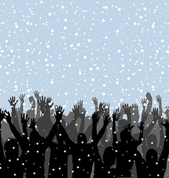 People silhouettes enjoying snow vector image vector image