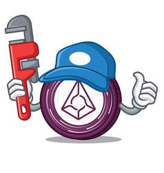 Plumber augur coin mascot cartoon vector