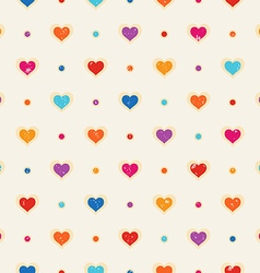 Retro seamless pattern Color hearts and dots vector image vector image