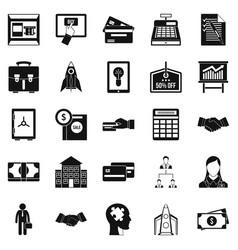 Seo development icons set simple style vector