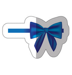 Sticker satin blue ribbon and bow wrapping vector