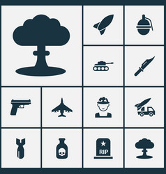 Warfare icons set collection of weapons ordnance vector