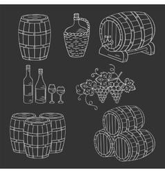 Wine barrels set vector