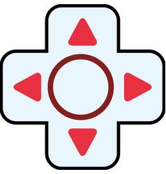 Video game red button arrow circle icon vector