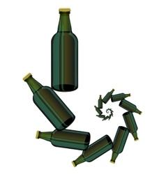 Green glass beer bottles vector
