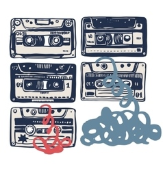 With vintage cassettes tapes old music vector