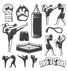 Muay thai monochrome elements vector