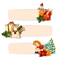 Christmas gift holly and toy banner set design vector