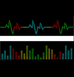 Heart beats and sound waves vector