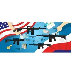 America Russia USA proxy war arms conflict world vector image