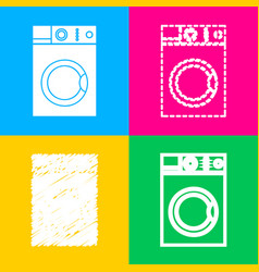 Washing machine sign four styles of icon on four vector