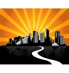 City with sunshine ray vector
