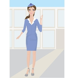 Woman stewardess standing in airport vector