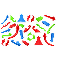Multicolored 3d glossy arrows pointing signs vector