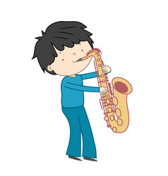 Boy playing saxophone isolated on white vector