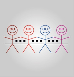 Four happy stick figures with houses vector image