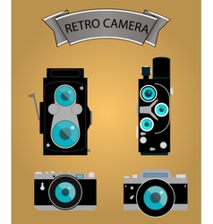 Photo camera icons set in flat style vector