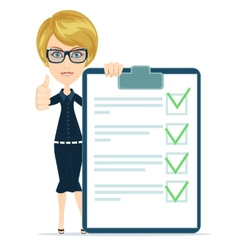 Businesswoman or teacher holding a paper with vector