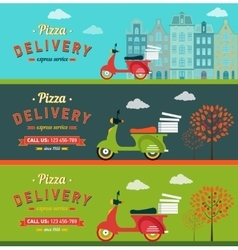Fast food and pizza delivery horizontal banners vector