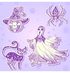 Decorative drawing stickers for halloween part 2 vector