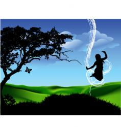 girl jump vector image