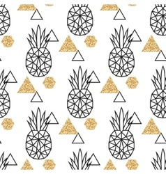Line geometric pineapple and gold shimmer dot vector