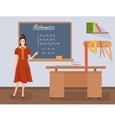 School mathematics female teacher in audience vector