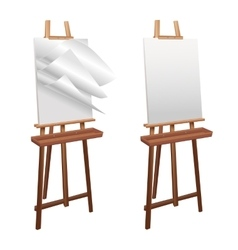 Wooden easel on a white background vector