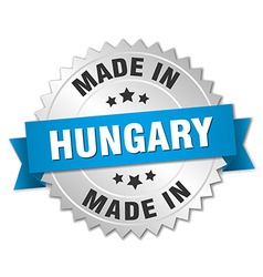 Made in hungary silver badge with blue ribbon vector