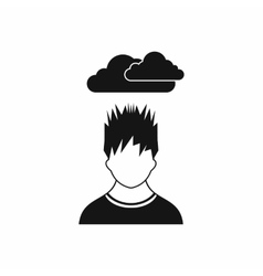 Depressed man with dark cloud over his head icon vector