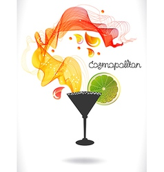 Abstract color cocktail with wave and drops vector image
