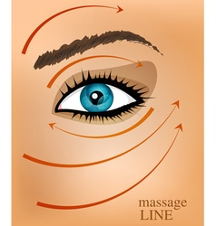 background with part of the face and massage line vector image vector image