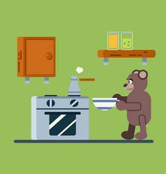 Brown bear prepares a coffee vector