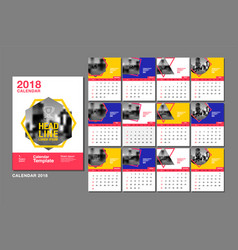 Calendar template for 2018 year design layout vector