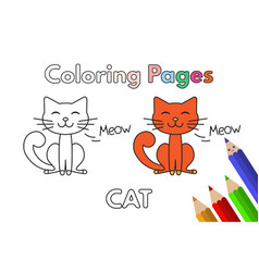 cartoon cat coloring book vector image