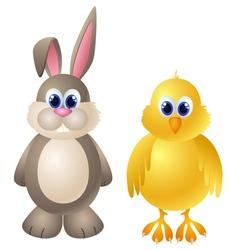 Cartoon rabbit and chicken character vector