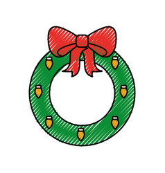 christmas wreath with ball bow decoration vector image
