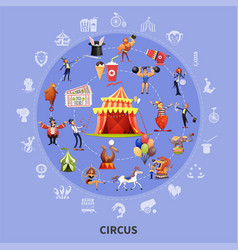 circus cartoon round composition vector image