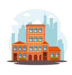 city landscape buildings icon vector image