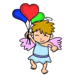 Cupid with balloon cartoon valentine days vector