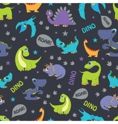 Dinosaurs roaring seamless pattern cutest vector