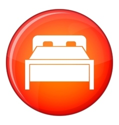 Double bed icon flat style vector image