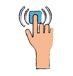 Drawing hand touch button wifi graphic vector
