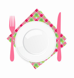 Empty white plate with a pink knife and fork on a vector image vector image